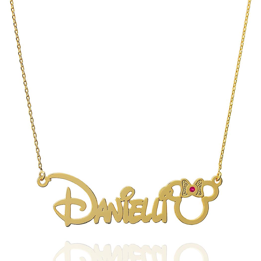 colar nome personalizado Minnie Disney zircônia rosa
