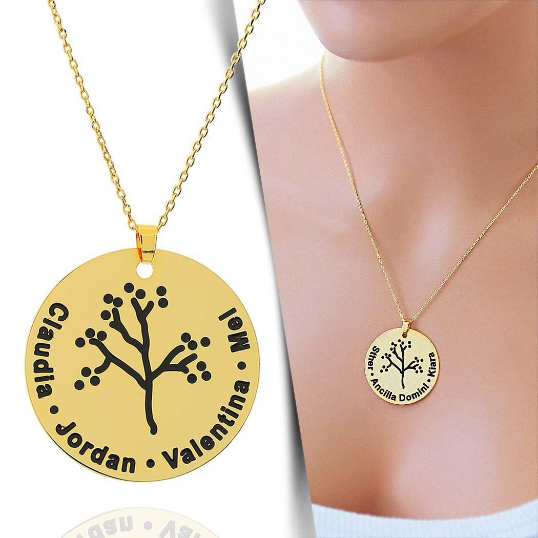 colar personalizado nome árvore família