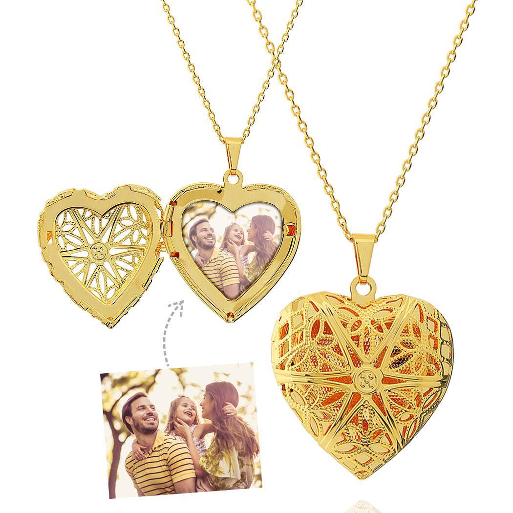 colar relicário foto coração grande dourado