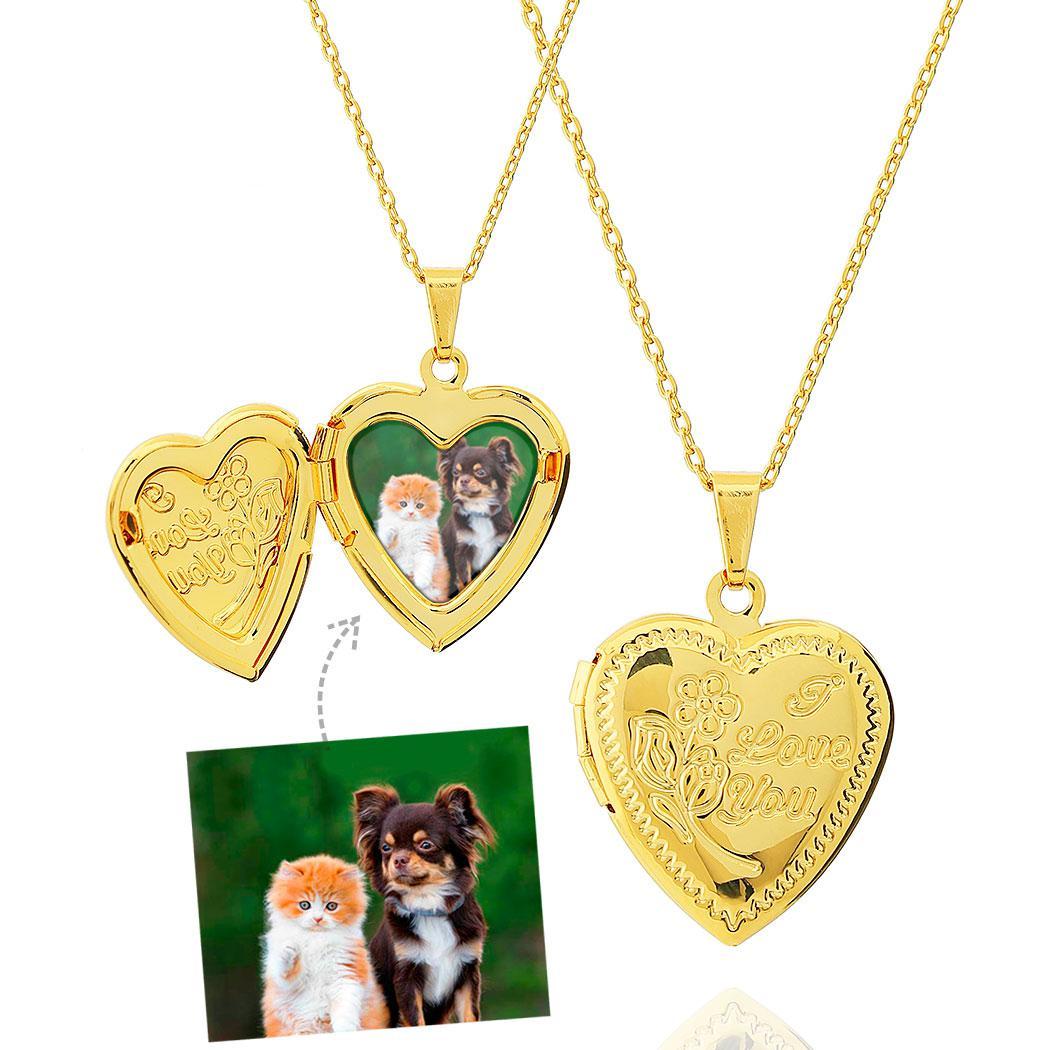 colar relicário foto coração i love you dourado