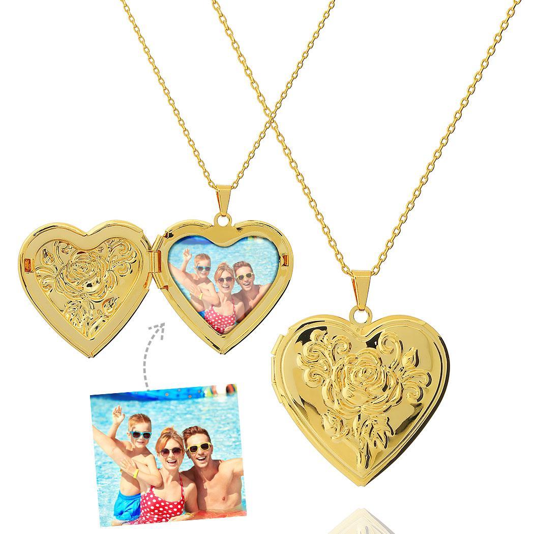 colar relicário foto coração rosa grande dourado