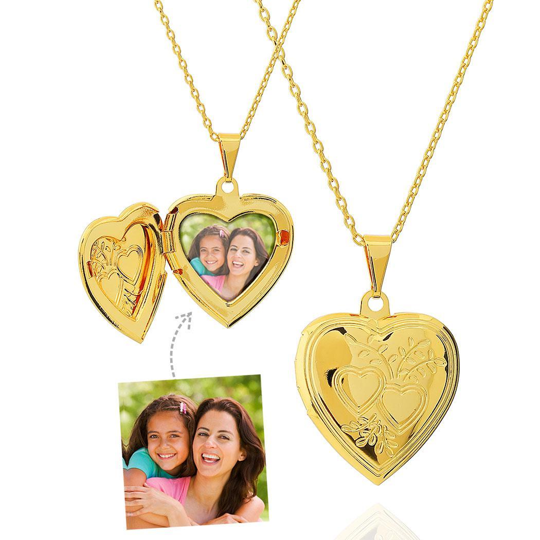 colar relicário foto corações dourado