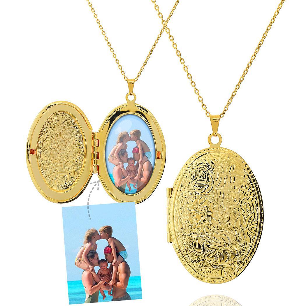 colar relicário foto oval folhas grande dourado