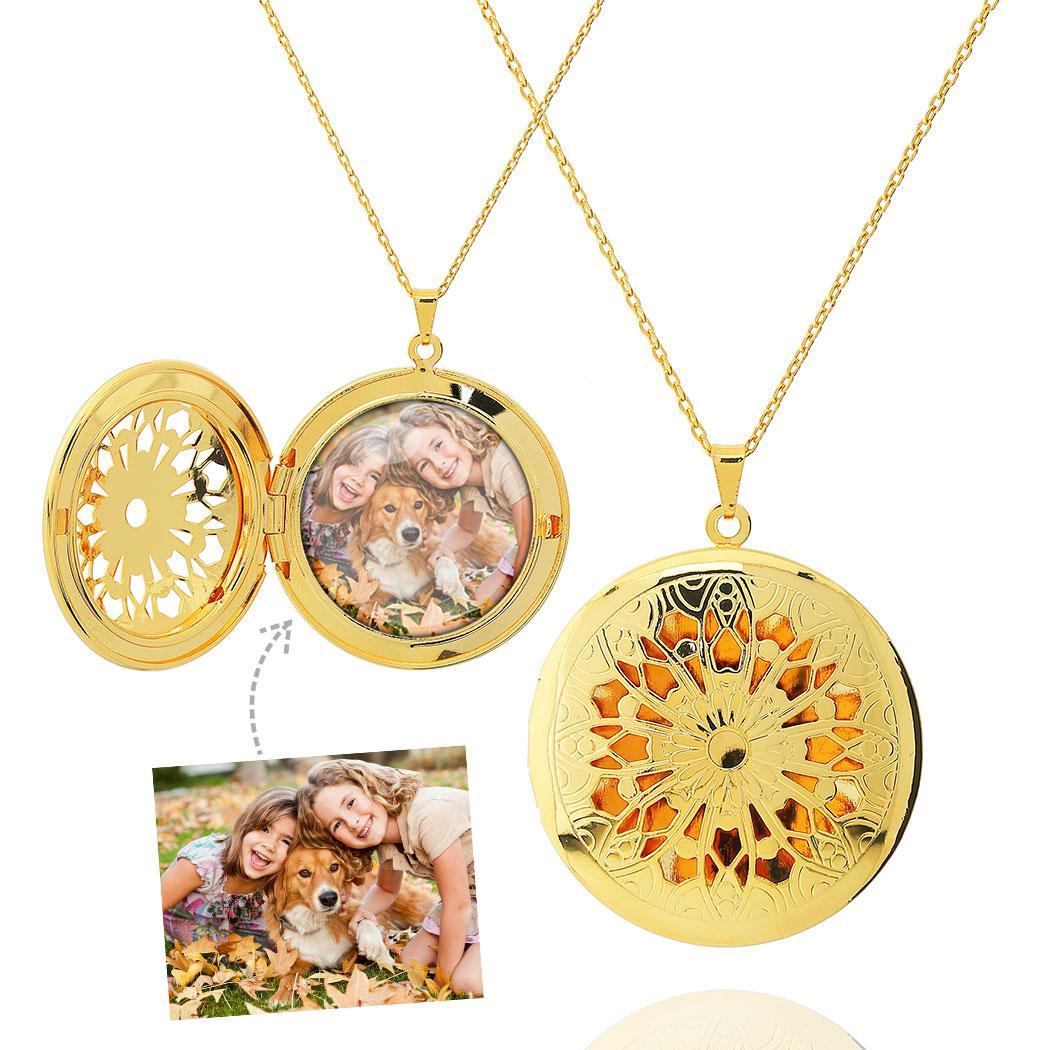 colar relicário foto redondo mandala grande dourado