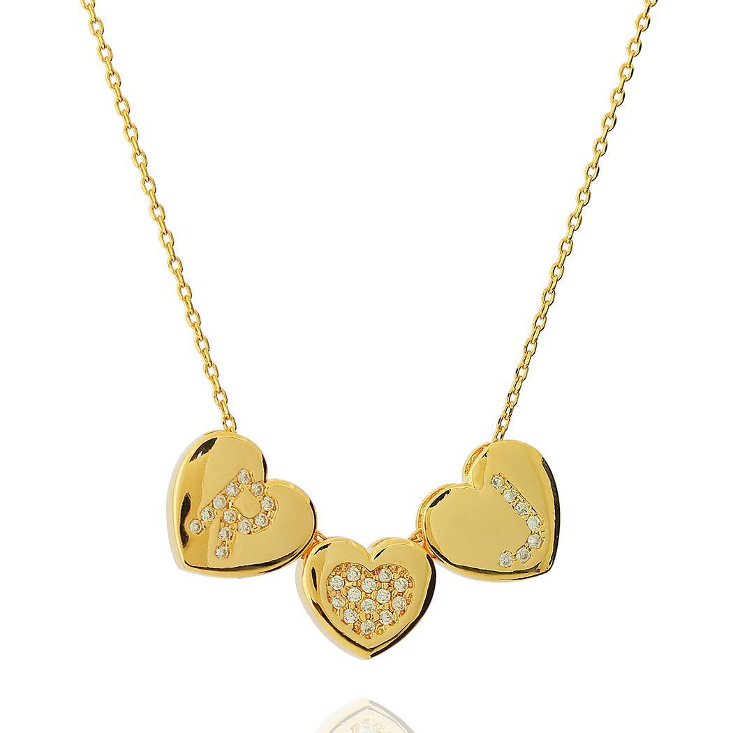 colar três corações iniciais personalizado