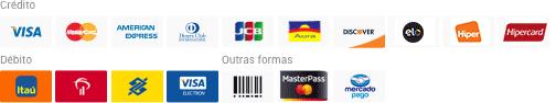 Formas de Pagamento: Visa, Master Card, American Express, Dinners, JCB, Aura, Discover, Elo, Hiper, Itau, Hipercard, Banco do Brasil, Boleto, Master Pass e Mercado Pago