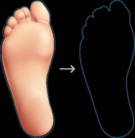 Contorno do pé para medir