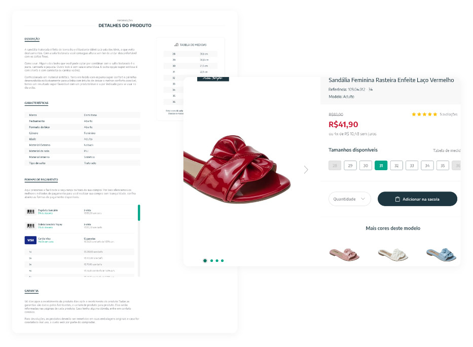 Na página do produto selecionado, confira todos os detalhes e selecione o tamanho e a quantidade desejada. Agora é só clicar no botão