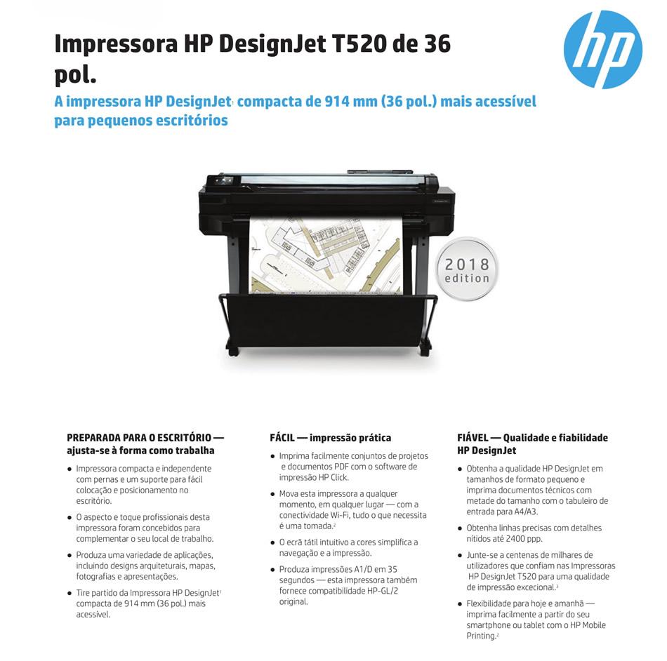 Impressora HP Designjet T520 Eprinter 36 Polegadas Modelo 2018 CQ893C