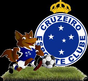 Mascote Raposa jogando bola e escudo do Cruzeiro com a Tríplice Coroa