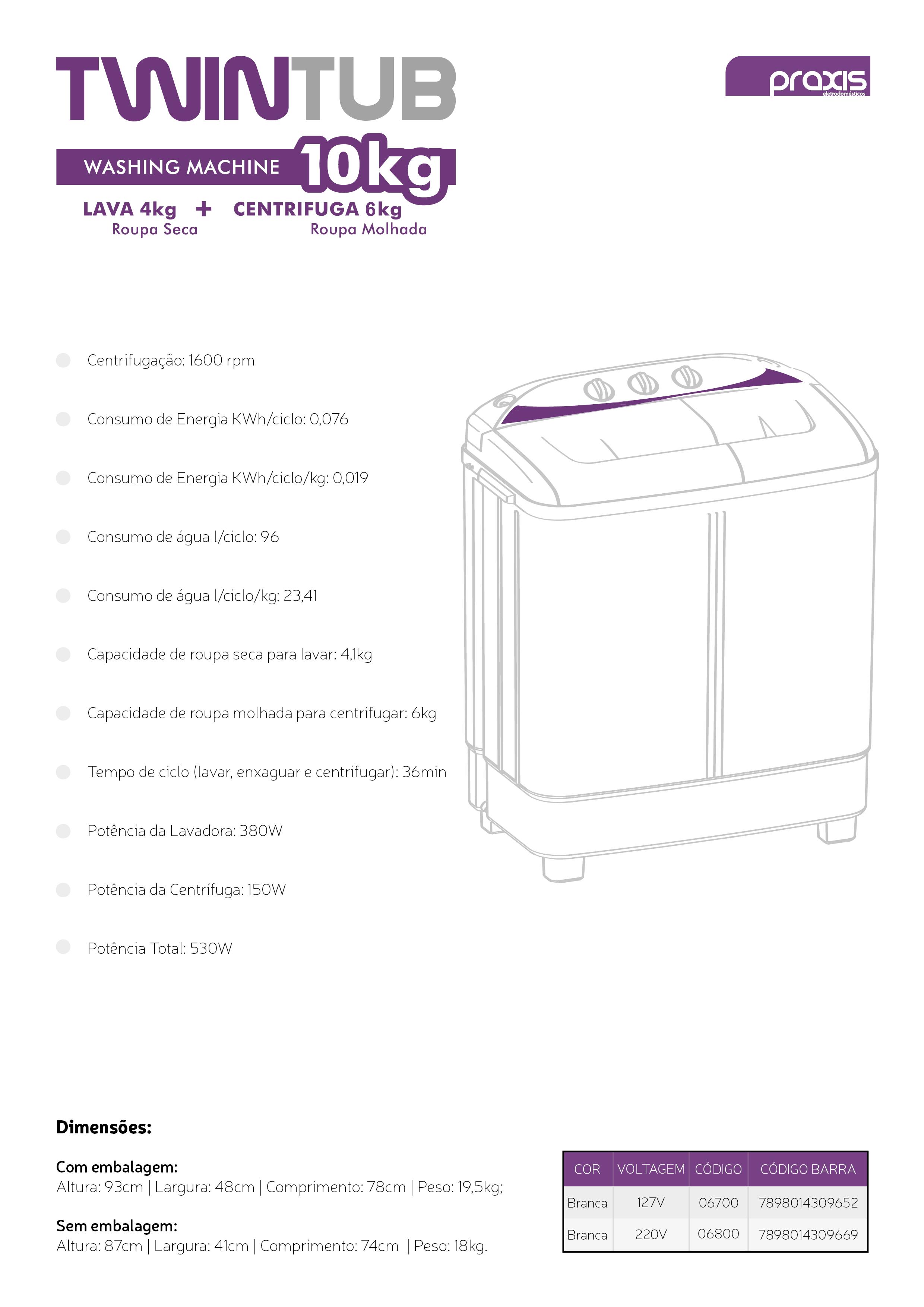 A TWINTUB é feita com tecnologia de ponta para oferecer um mundo de benefícios para você. Uma máquina de lavar moderna e versátil para se adaptar ao seu estilo, seja ele qual for.  Modelo do Produto: Máquina de Lavar Roupas Twin Tub  Capacidade: 10Kg Altura: 74 cm Largura: 93 cm Profundidade: 41 cm Marca: Praxis Eletrodomésticos  Itens Inclusos: Maquina de Lavar, uma mangueira de entrada, um manual, um guia de autorizadas e uma tampa de pressão da centrifuga. Garantia: 1 ano Descrição: Essa Lavadora é a única que lava e centrifuga simultaneamente. Uma maravilha da Praxis para sua casa. A Twin Tub é feita com tecnologia de ponta para oferecer um mundo de benefícios para você. Uma máquina de lavar moderna e versátil para se adaptar ao seu estilo, seja ele qual for. Possui dois compartimentos, sendo um para lavagem, outro para centrifugação que podem funcionar separados ou simultaneamente. Ela lava até 4 kg e centrifuga até 6 kg. Possui painel mecânico e abertura superior, seu ciclo de lavagem tem 36 minutos de ciclo básico, porém é possível personalizar a lavagem de acordo com o tipo, quantidade de roupas e hábito do consumidor. É possível retirar algumas roupas, passar para a centrífuga e, enquanto parte das roupas é centrifugada, pode-se adicionar mais roupas no compartimento de lavagem, otimizando o tempo e aproveitando a água e o sabão. O sistema de lavagem é através de turbilhonamento com inversão da rotação do batedor, o que proporciona maior contato da roupa com o sabão, tornando a lavagem muito mais eficiente. Tecnologia inovadora, feita para o consumidor moderno, e permite personalização da lavagem. Projetada para a máxima eficiência, 26% mais eficiente que a média do mercado, segundo o Inmetro. Com ciclo menor que reduz o consumo de água, sabão e energia. Nota A no Procel. De acordo com as novas normas brasileiras para plugs e tomadas elétricas; Design elegante e atraente. Perfeita para pequenos espaços. Seletor que permite escolher entre roupas normais e de