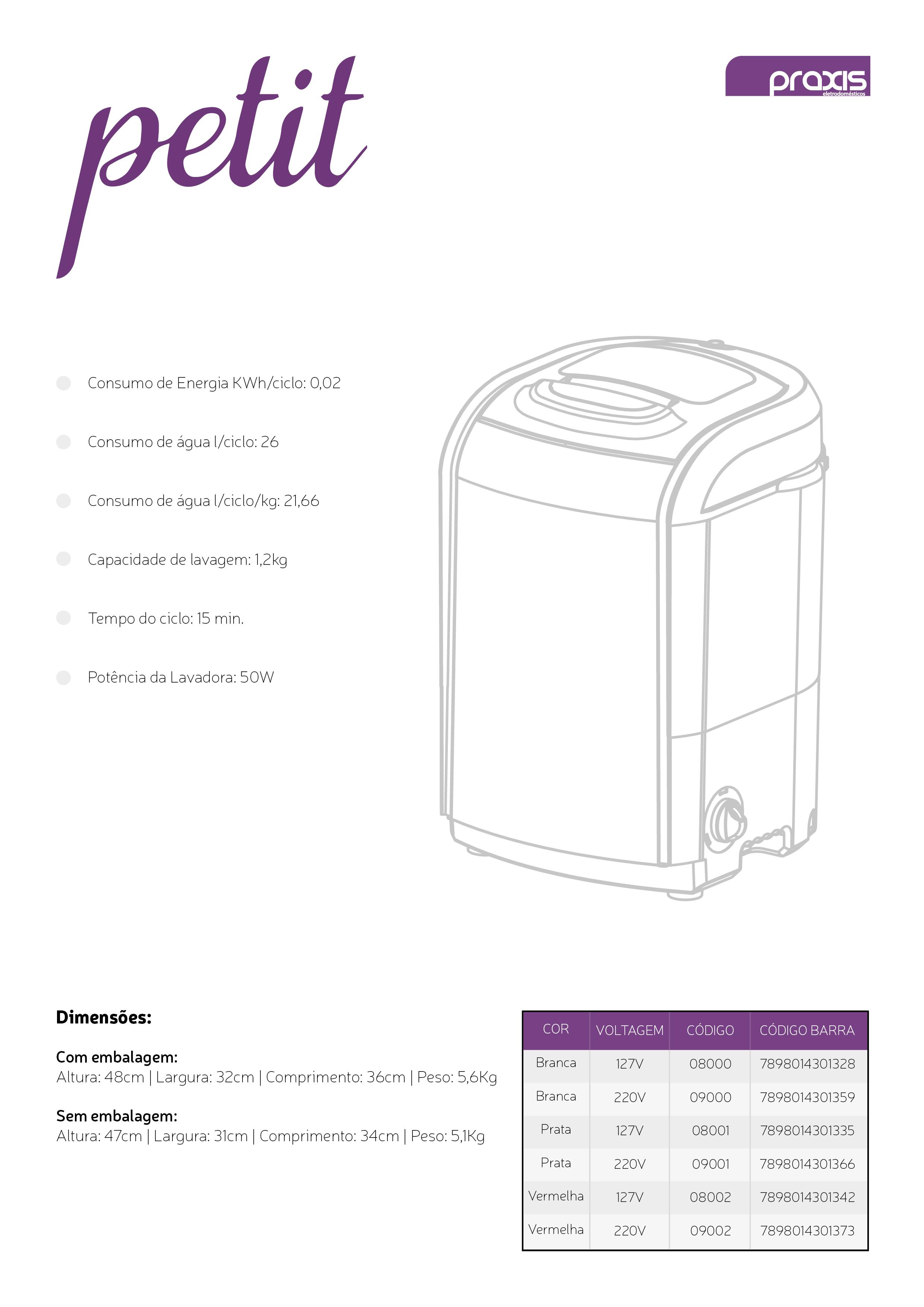 Sobre a Marca:  Sediada em Taubaté (SP), a Praxis Eletrodomésticos conta com uma sólida estrutura fabril, com equipamentos de última geração, laboratórios de teste, inspeção e qualidade, além de um corpo técnico formado por profissionais altamente qualificados. Com uma rede de assistência técnica em todo o Brasil e certificações internacionalmente reconhecidas, entre elas ISO 9001 e ISSO 14001, a Praxis promete agradáveis surpresas para o mercado. Seus produtos agregam um detalhe sutil de funcionalidade e beleza, o que reflete o cuidado que a empresa tem com seu consumidor, assim como o cuidado que a dona de casa tem com o seu lar.   Modelo do Produto: Mini lavadora de roupas Petit branca Itens Inclusos: Mini Maquina de Lavar, uma mangueira de entrada, um manual. Garantia: 12 meses Descrição: Discreta, elegante e compacta: assim se define a Máquina de Lavar Roupas da Praxis. Seu modelo Petit permite lavar pequenas quantidades de roupas separadamente, de forma rápida e eficiente. Seu ciclo máximo é de apenas 15 minutos e possui selo ?A? do Procel.