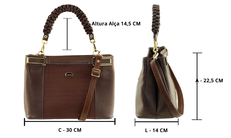 12728551e Dimensões da bolsa: Aproximadamente C 30cm x L 14cm x A 22,5cm