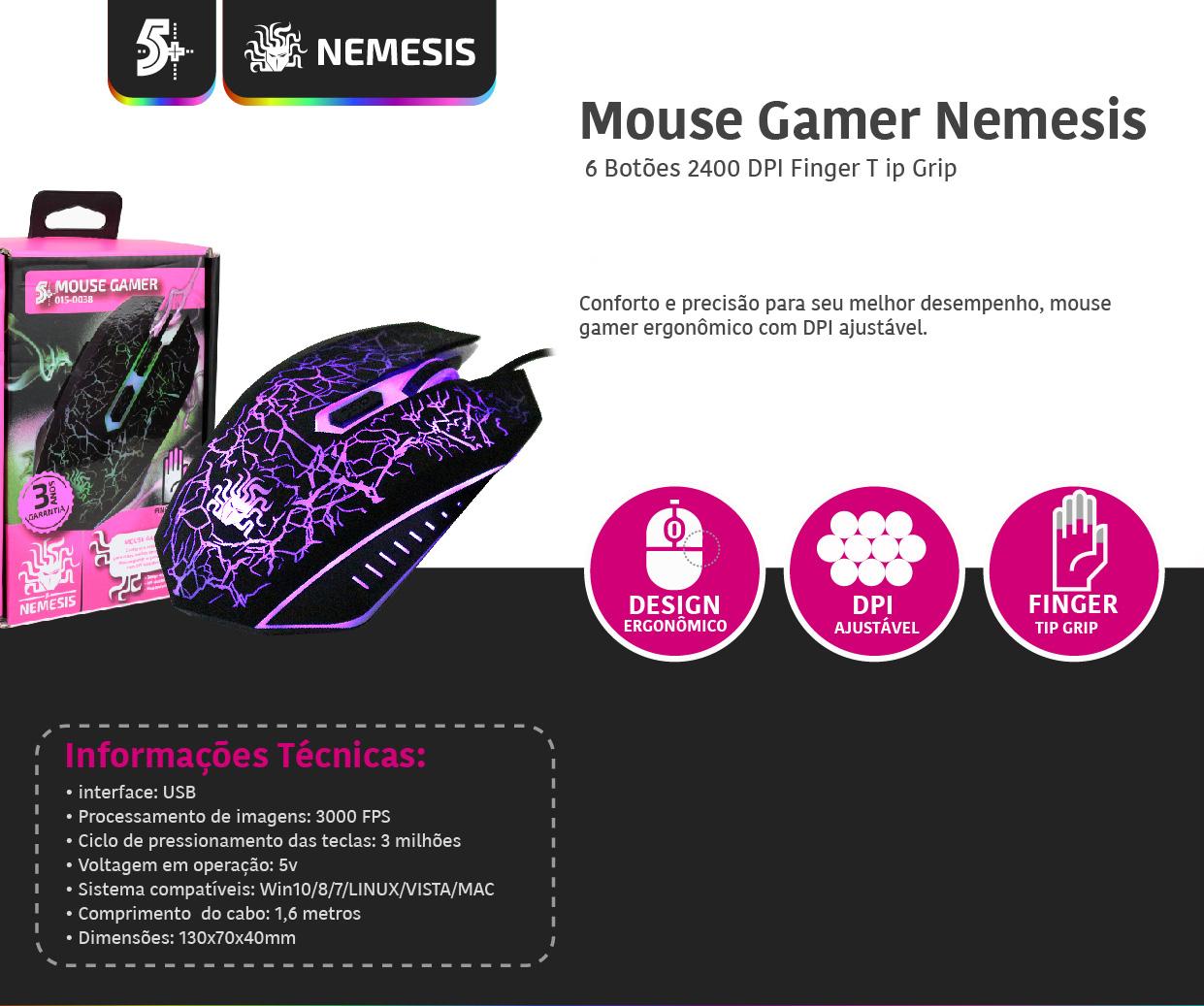 MOUSE USB GAMER 6 BOTOES 2400 DPI FINGERTIP GRIP - CHIPSCE