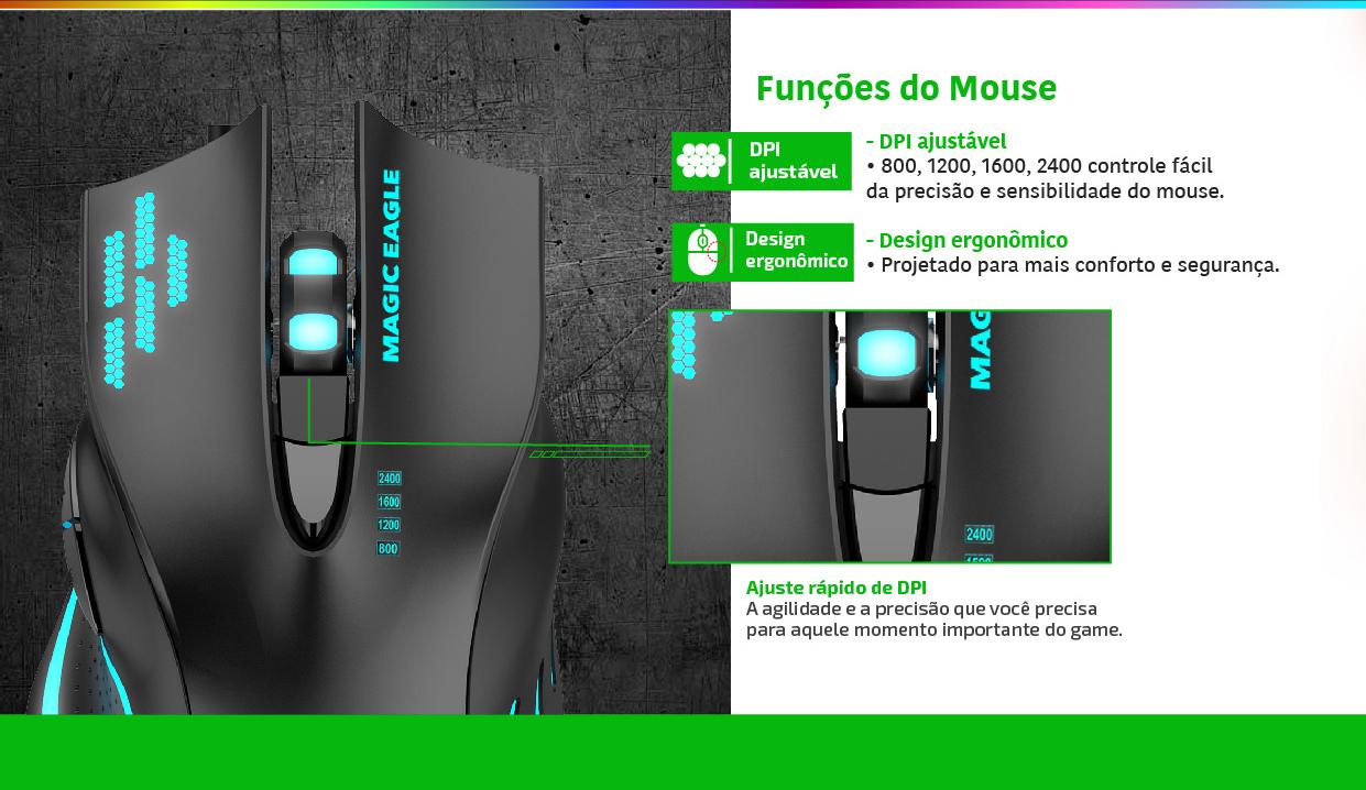 MOUSE USB GAMER Nemesis 6 BOTOES 2400 DPI