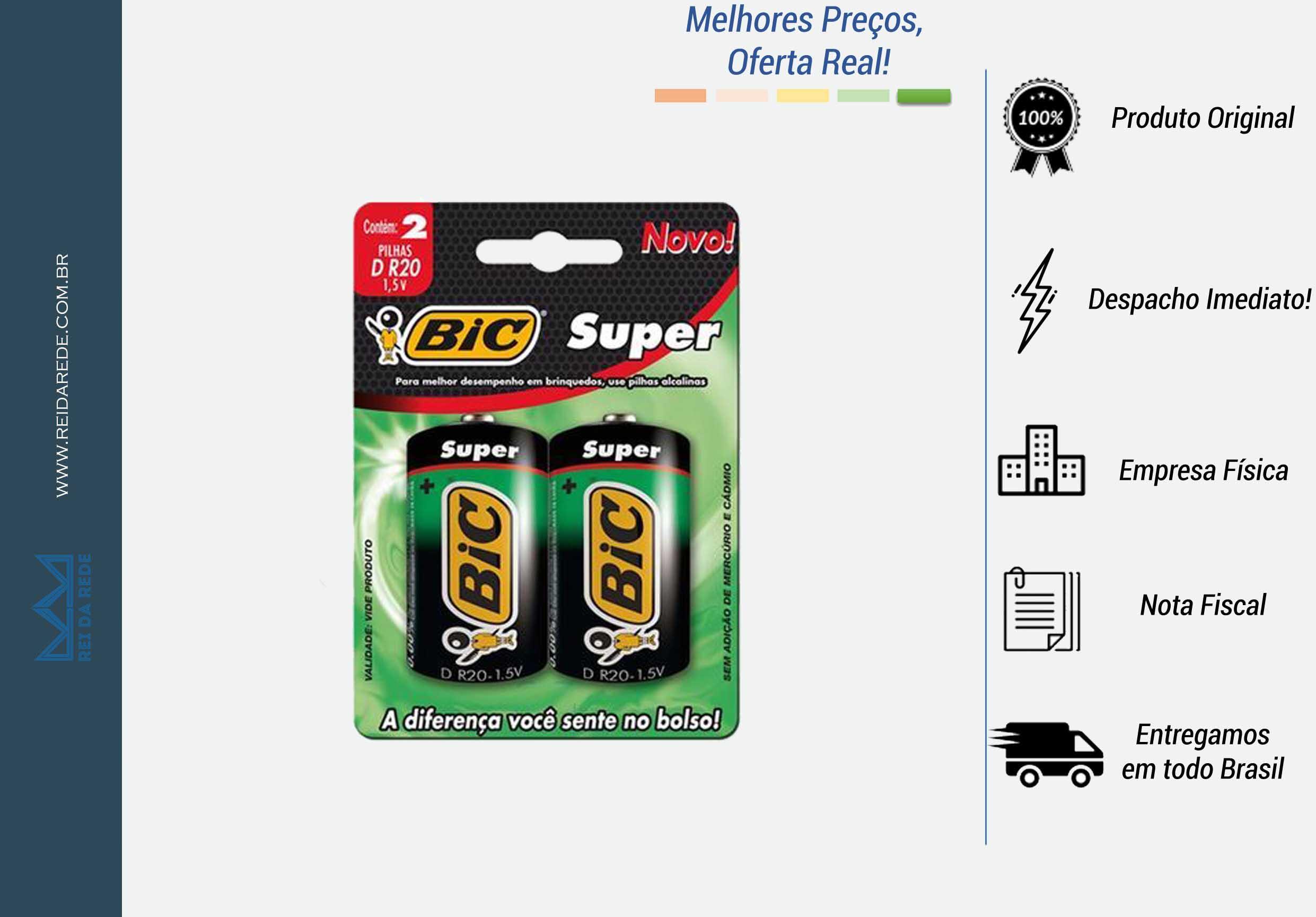 PILHA BIC COMUM SUPER GRANDE 2X1 - MARCA: BIC - MODELO: D