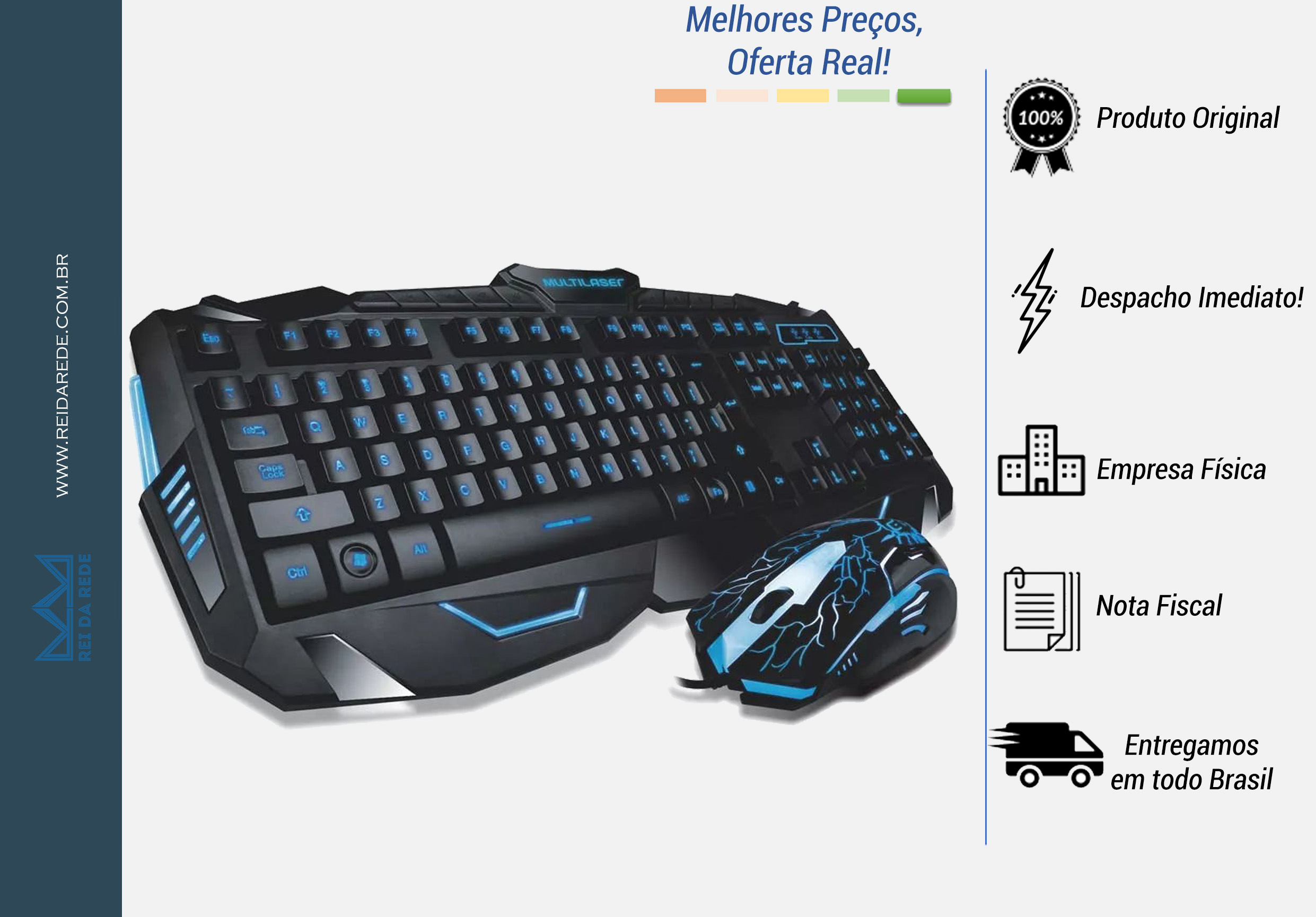 Teclado e Mouse Gamer Lightning com Led Multilaser TC195