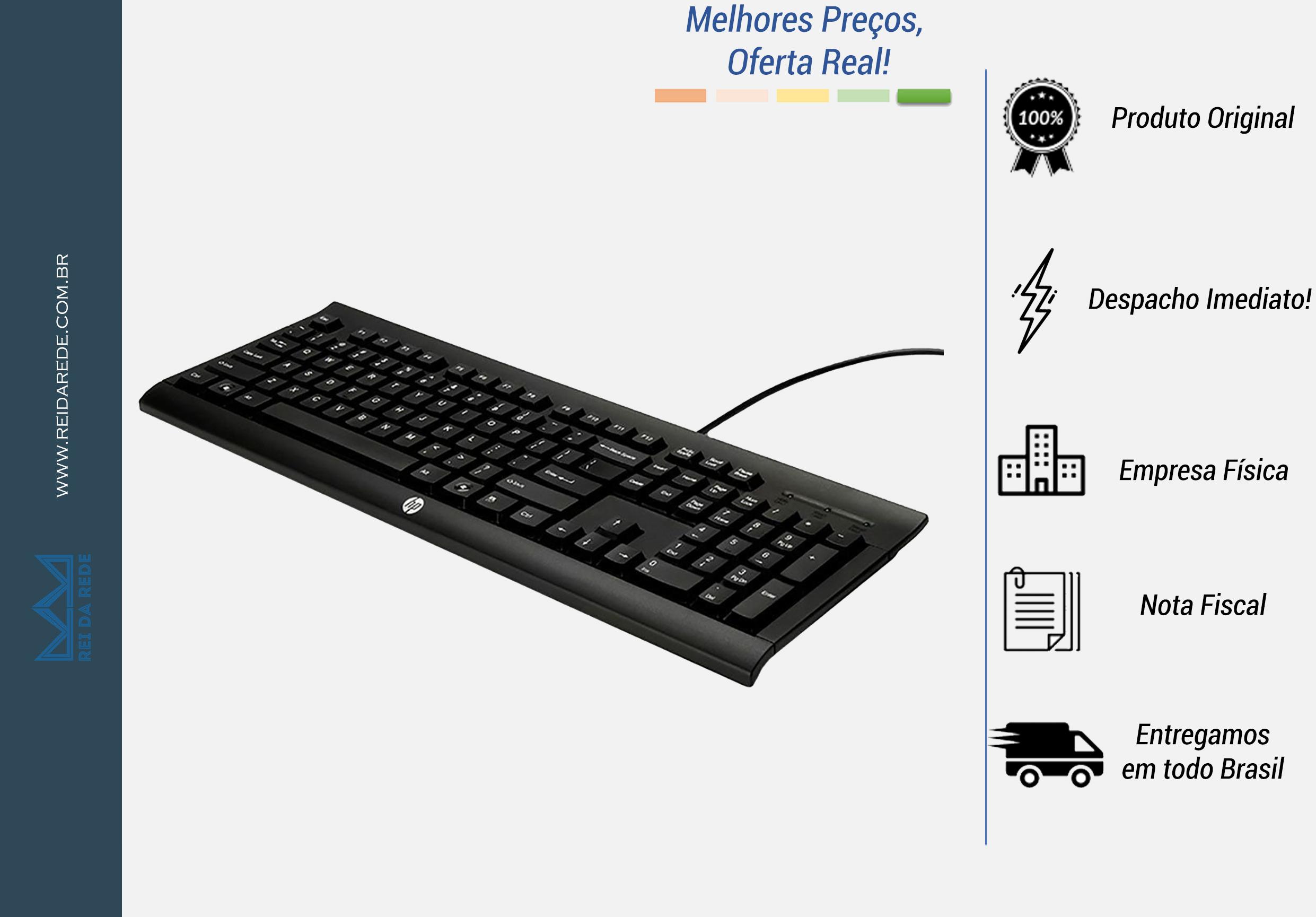 Teclado HP USB K1500 Multimídia Preto