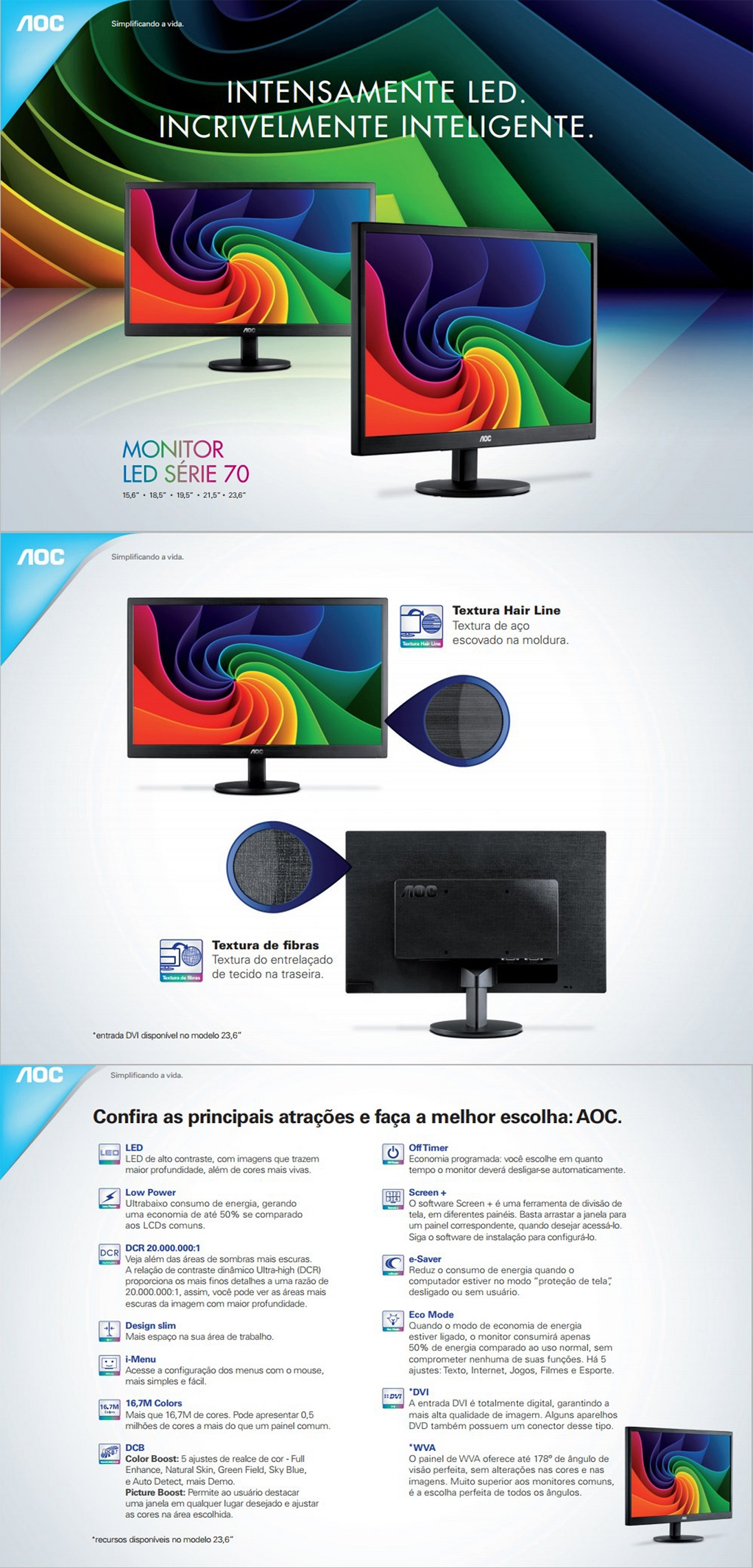 "Monitor Led 21, 5"" AOC Widescreen E2270SWN"