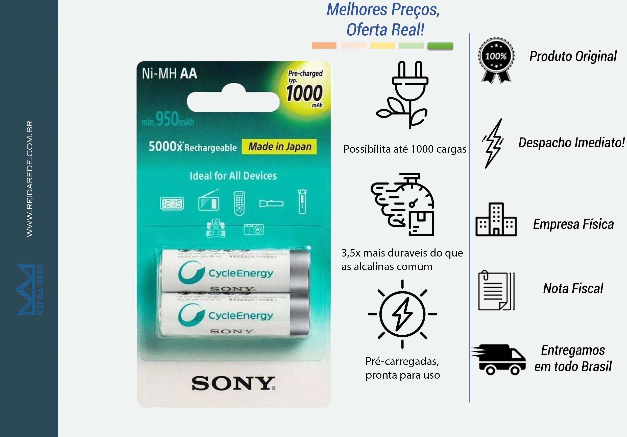 PILHA RECARREGAVEL C/2 PILHAS AA CYCLE ENERGY MULTI USE NH-AA-B2RN SONY - MARCA:SONY - MODELO: NH-AA-B2RN