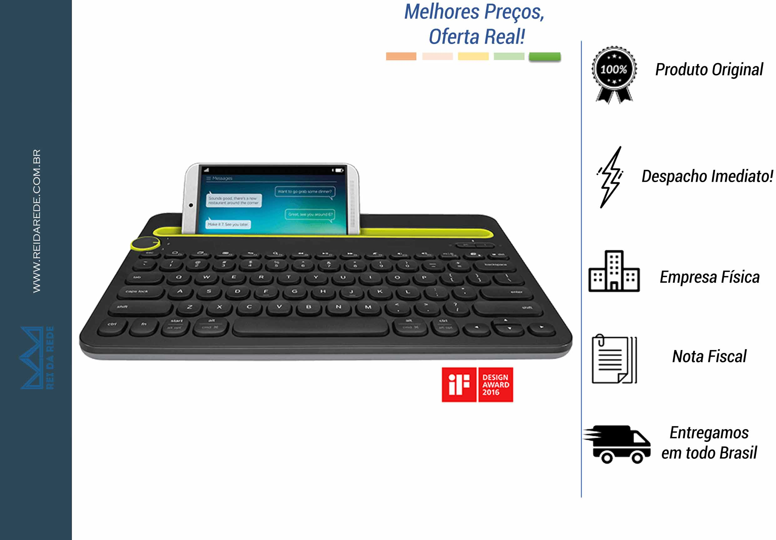 Teclado Bluetooth para PC TABLET e SMARTPHONE K480 LOGITECH Preto