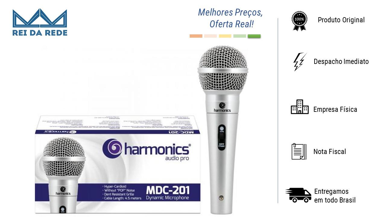 MICROFONE DINÂMICO SUPERCARDIÓIDE CABO 4,5M - MARCA:HARMONICS - MODELO:MDC201 PRATA