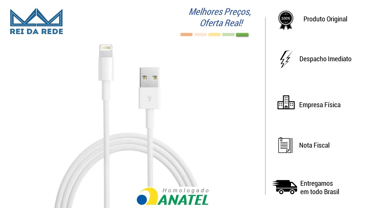 Cabo USB Iphone 5 E 6 Homologado 2m USB-LT2002WH Pluscable
