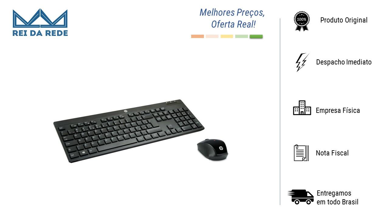 Kit Teclado e Mouse Preto Sem Fio HP C200