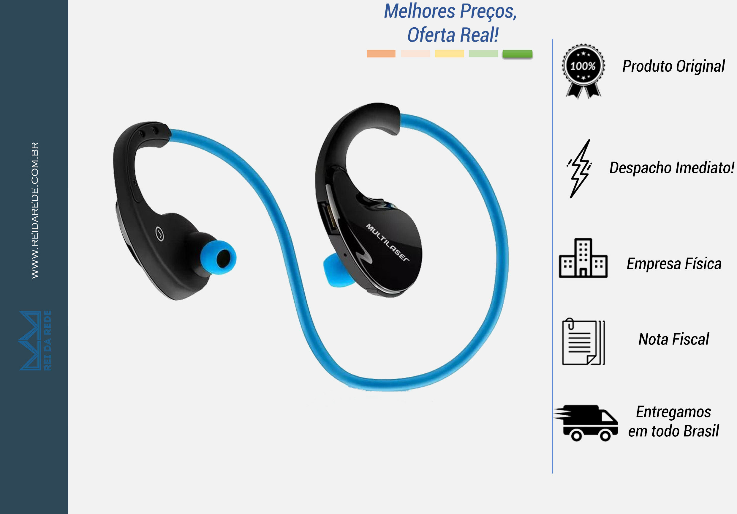 Fone de Ouvido Bluetooth Arco Sport Azul Multilaser PH182