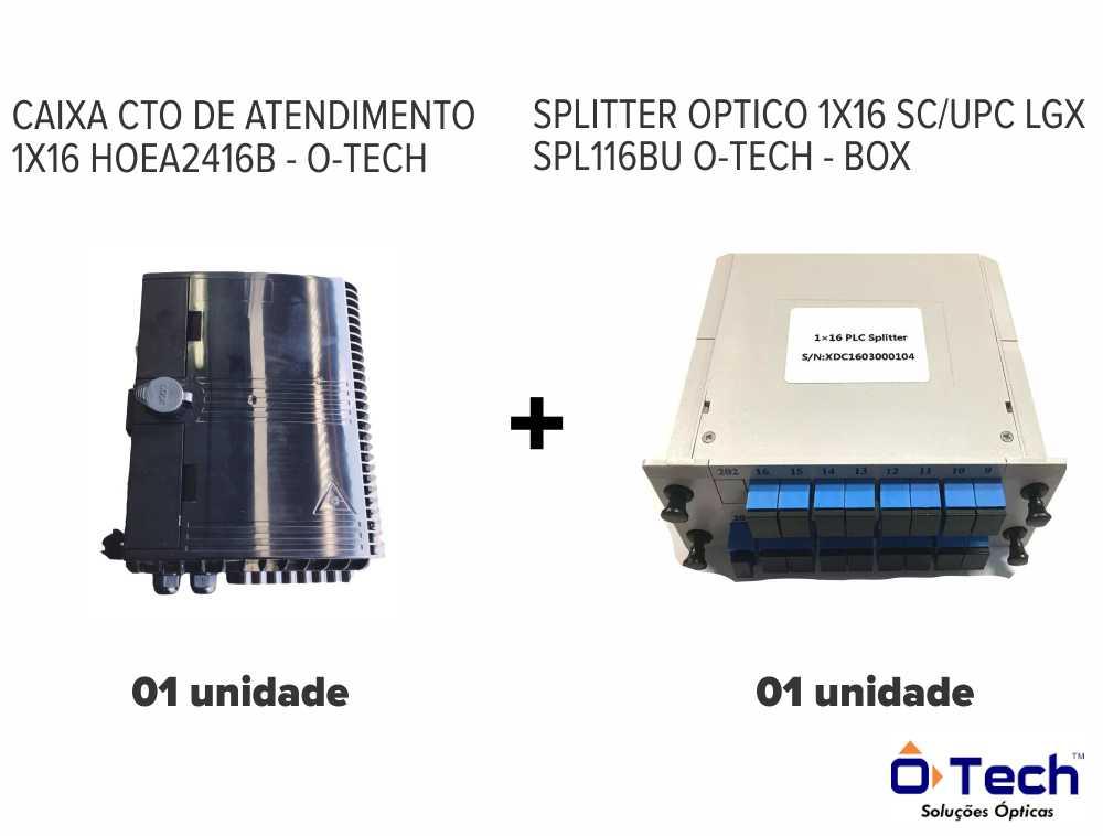 CAIXA CTO 1X16 HOEA2416B + SPLITTER BOX OPTICO 1X16 SC/UPC LGX SPL116BU – MARCA: O-TECH