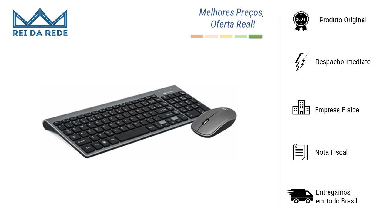 Teclado E Mouse sem Fio Teclas Macias Chocolate K-W510SBK Preto C3Tech