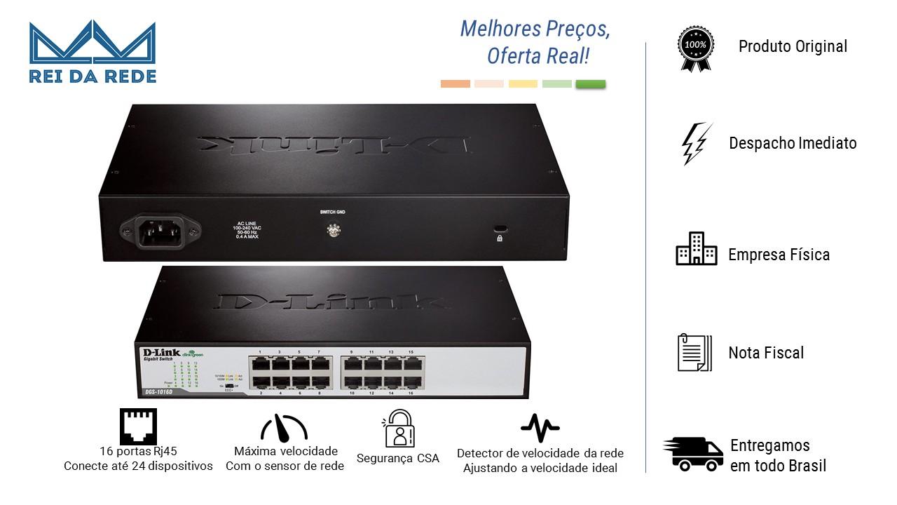 Switch 16 Portas Gigabit 10/100/1000MBPS DGS-1016d D-Link