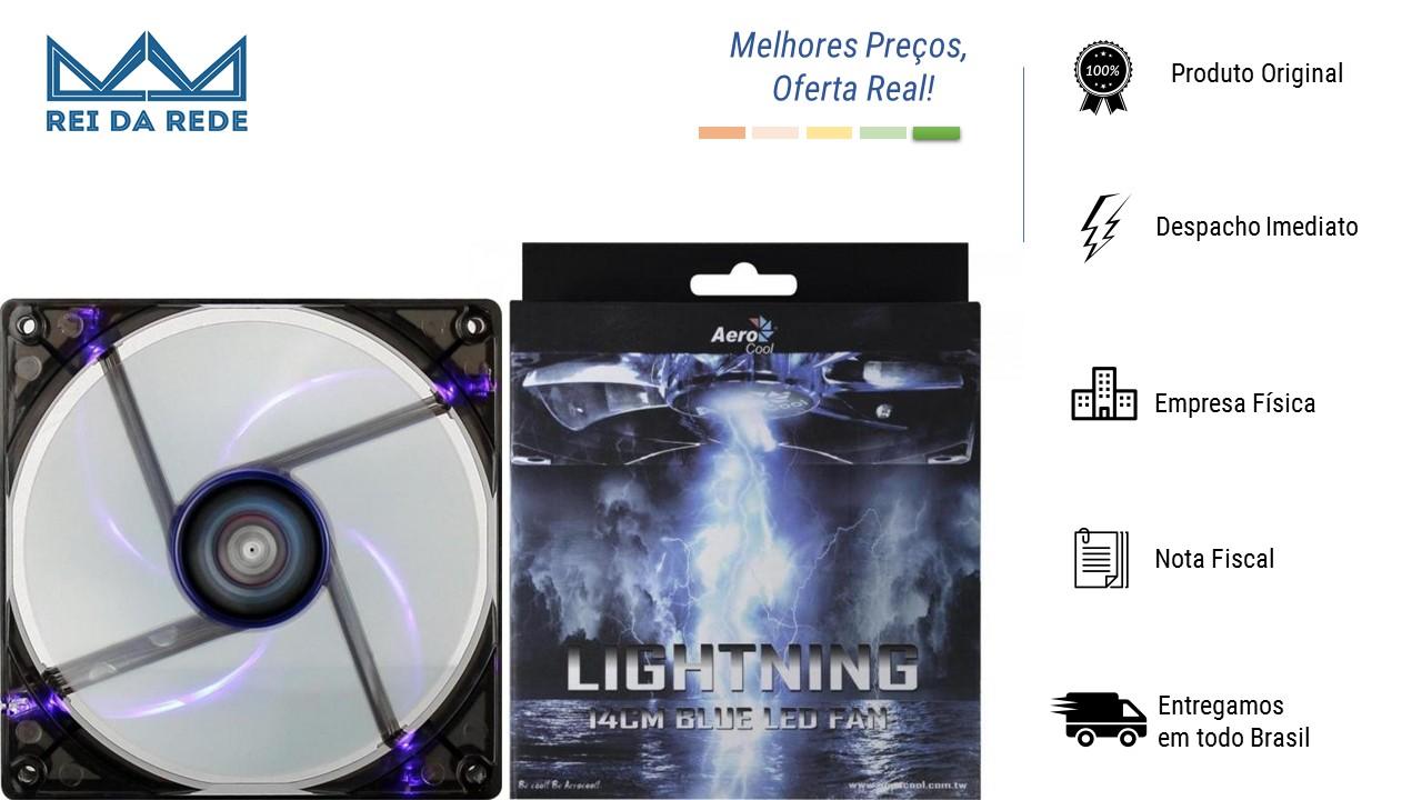 Cooler Fan 14 X 14 Cm Blue Led EN51400 Azul Lightning Aerocool