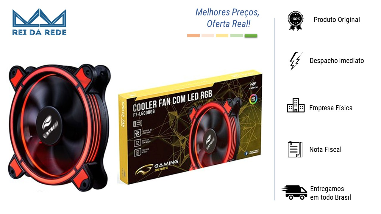 COOLER PARA GABINETE KIT 2 UNIDADES LED RGB 12 X 12MM CONTROLE REMOTO F7-L500RGB C3TECH