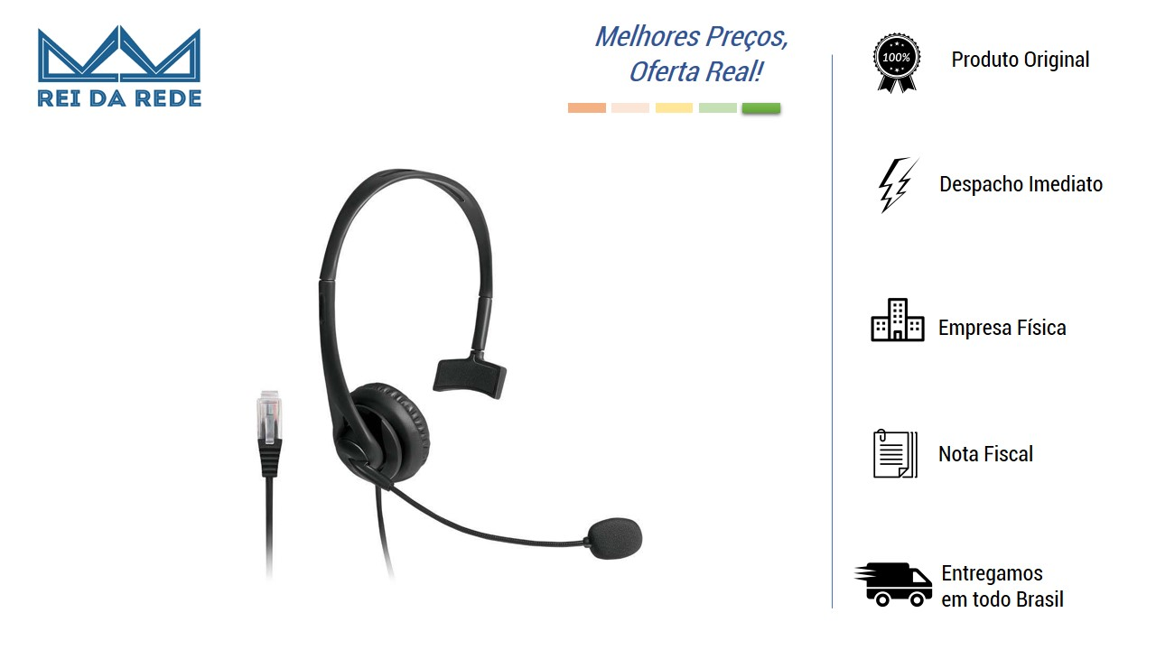 Headset com Conector RJ09 para Telemarketing PH251 MULTILASER
