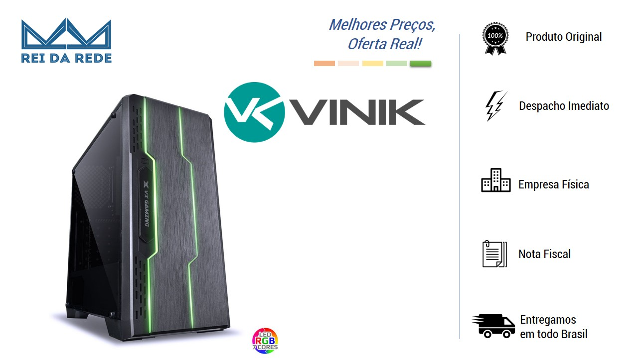 Gabinete Midtower VX Gaming Tron Full Window Fumê Led 7 Cores 09GATR-7 Vinik