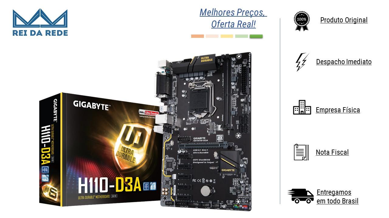 PLACA MAE GIGABYTE GA-H110-D3A  LGA 1151 DDR4 6 SLOTS PCI EXPRESS MINING