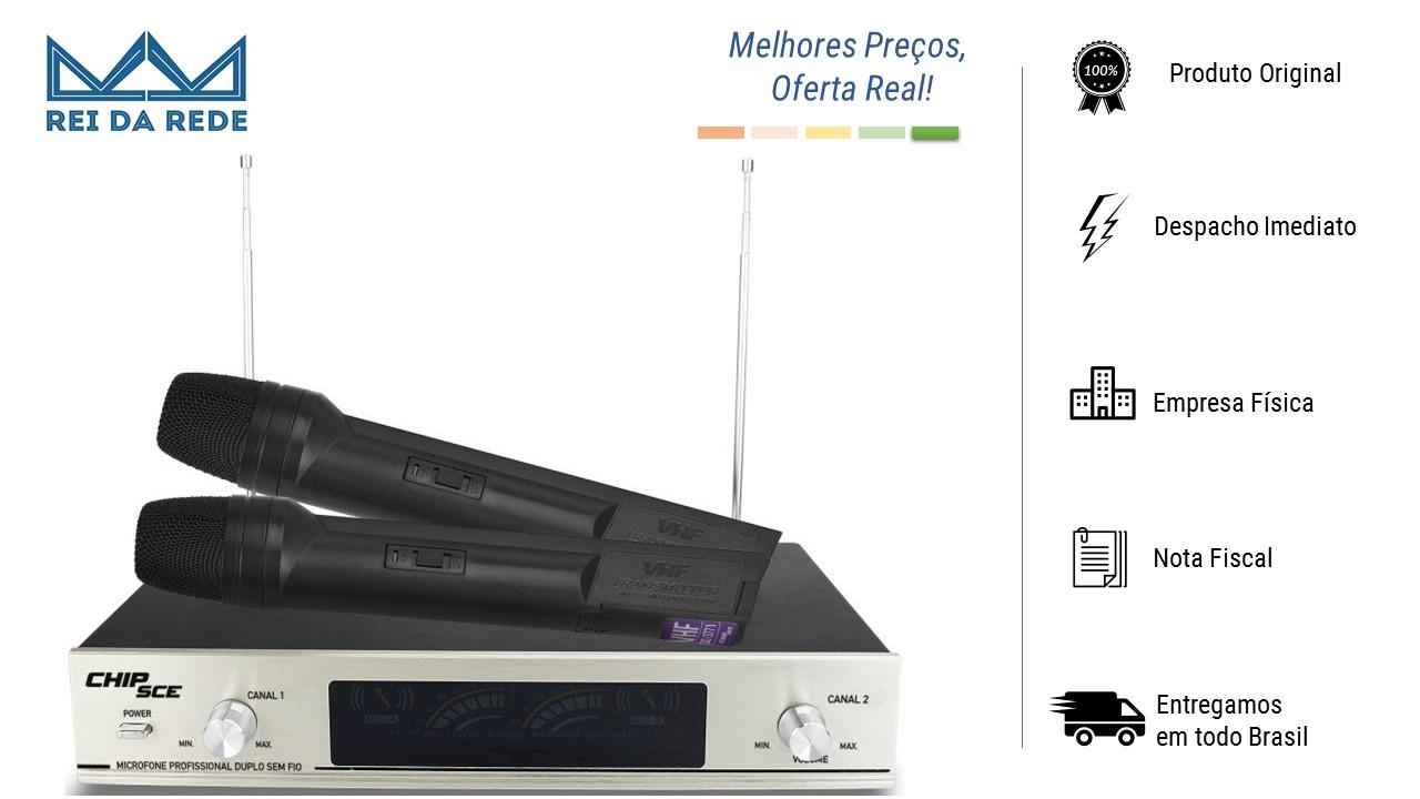 MICROFONE PROFISSIONAL DUPLO SEM FIO - MARCA: CHIPSCE - MODELO: VHF SC 3771
