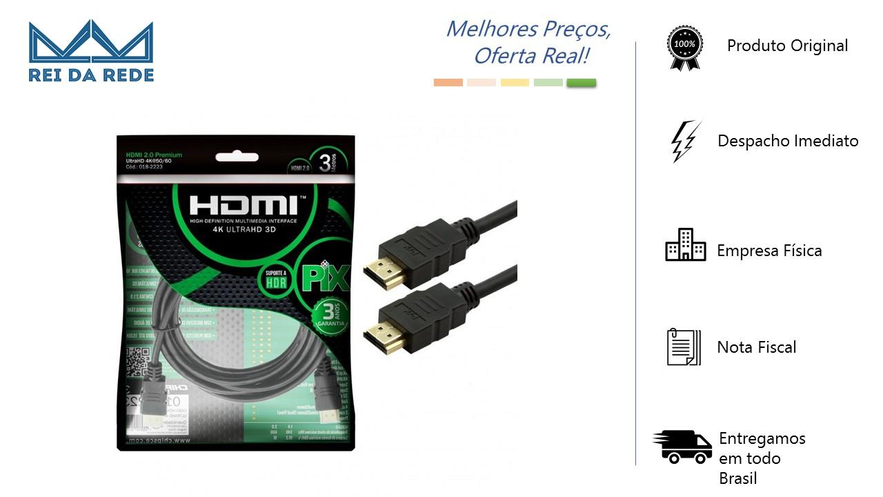 CABO HDMI 2.0 PIX 4K 19 PINOS PIX 3 METROS - PIX