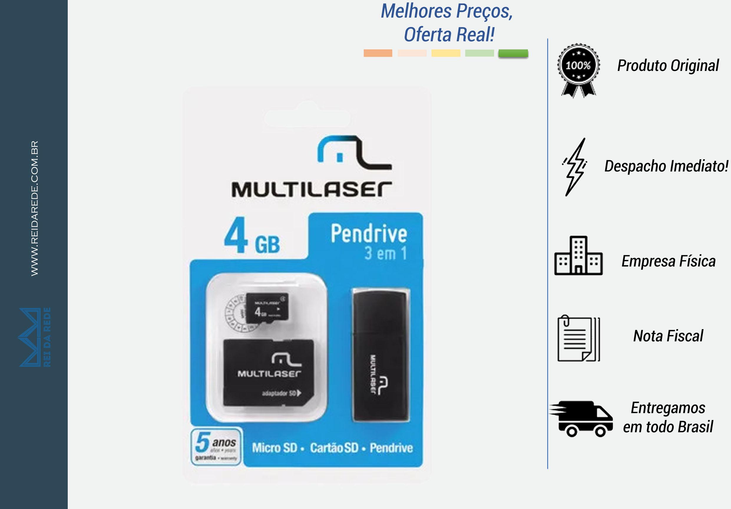 PENDRIVE + ADAPTADOR + MICRO SD MC057 4GB PRETO MULTILASER