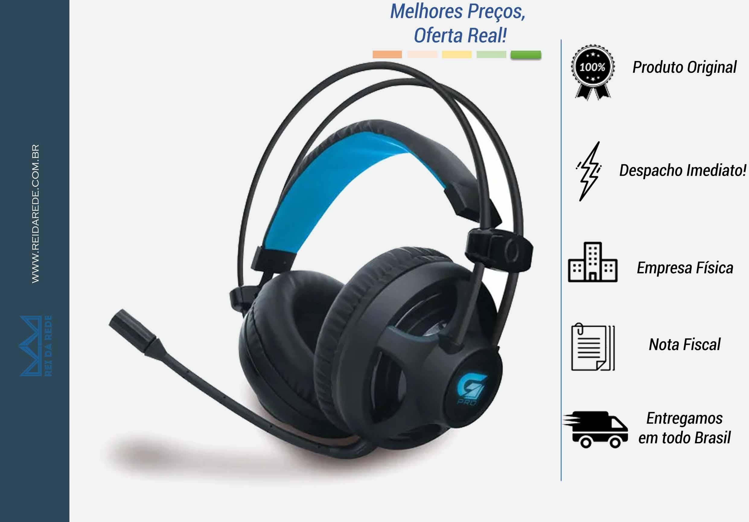 HEADSET GAMER PRO H2 COM LED AZUL PRETO P2/USB  - FORTREK