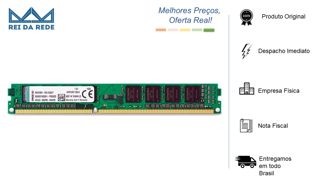 MEMORIA DESK 4GB DDR3 1600 KVR16N11S8/4 KINGSTON - BOX