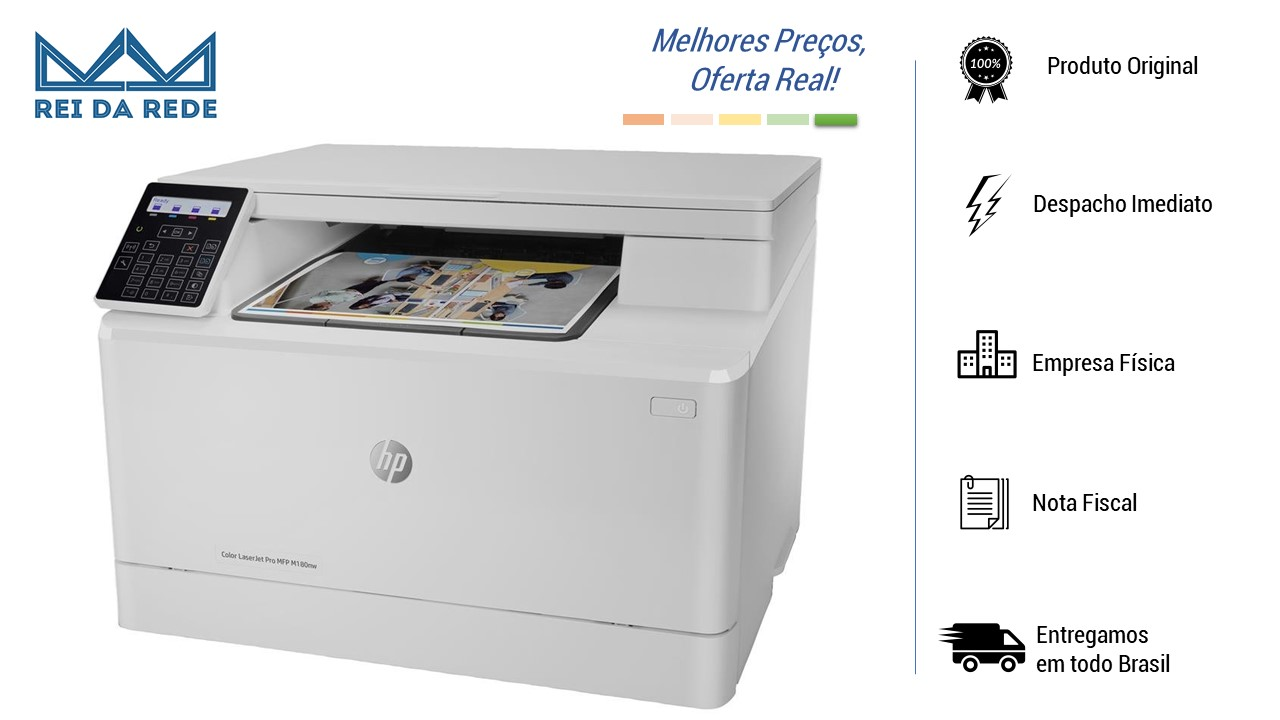 MULTIFUNCIONAL HP M180NW COLOR LASERJET PRO (IMPRE/COPIADORA/SCANNER/REDE/WIFI) LASER COLOR - IMPORTADA