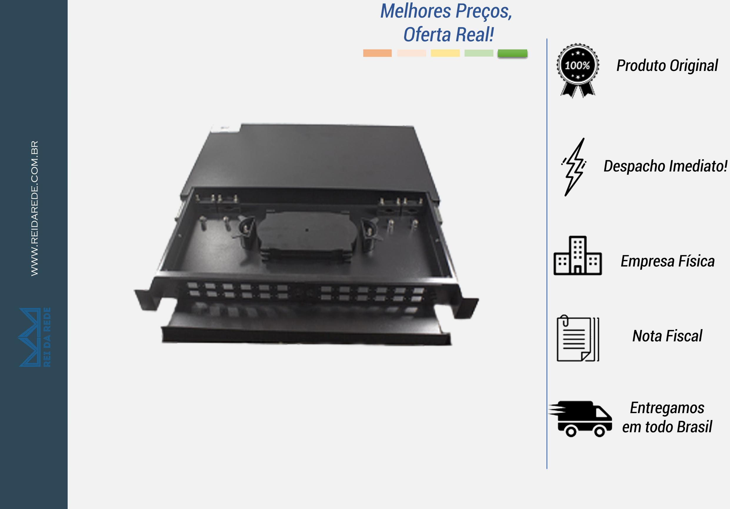 """A Caixa DIO para rack de 24 FO, padrão 19"""" é constituído de bandejas internas para até 24 emendas ópticas. Sua principal utilização é a distribuição e identificação das fibras. Possuem módulos para acomodação de emendas, protetores de fusão e abraçadeira para fixação dos cabo"""