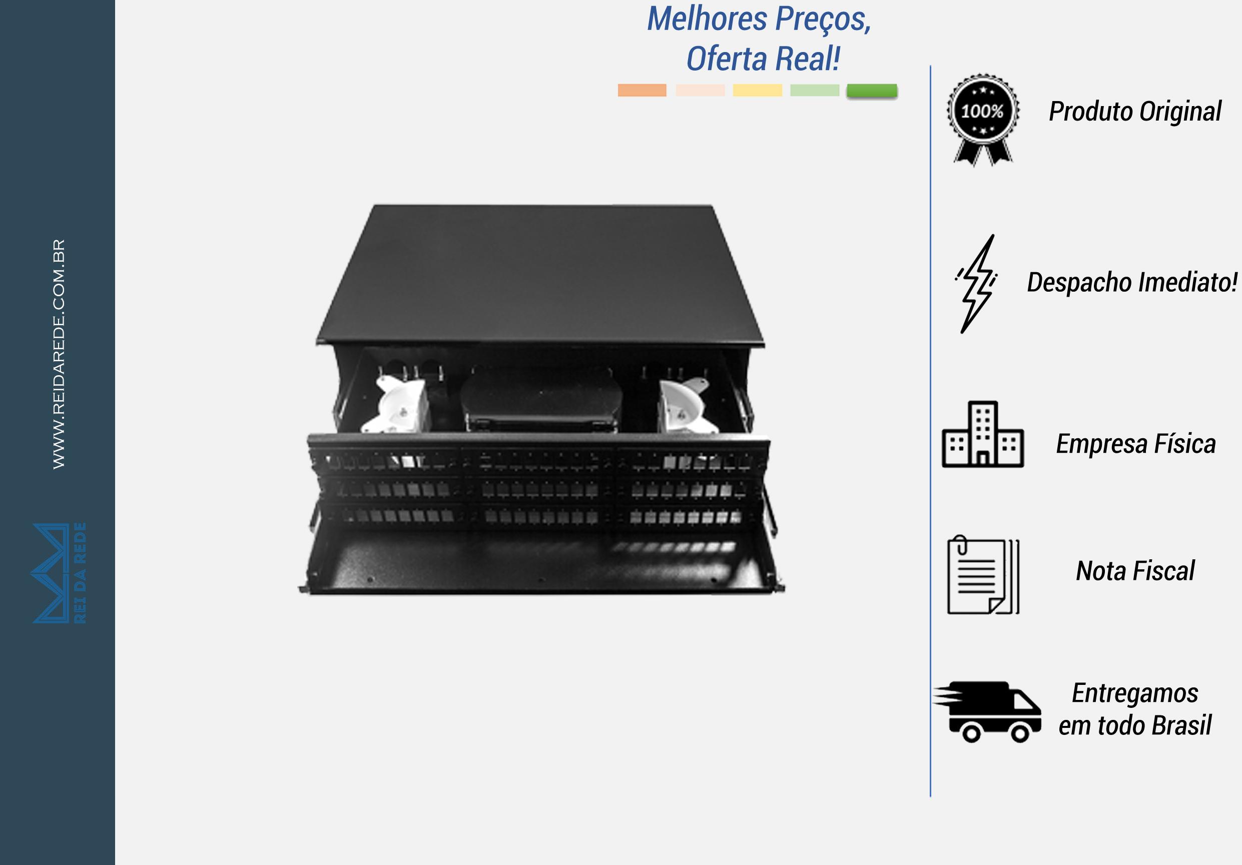 """A Caixa DIO para rack de 72 FO, padrão 19"""" é constituído de bandejas internas para até 72 emendas ópticas. Sua principal utilização é a distribuição e identificação das fibras. Possuem módulos para acomodação de emendas, protetores de fusão e abraçadeira para fixação dos cabos."""