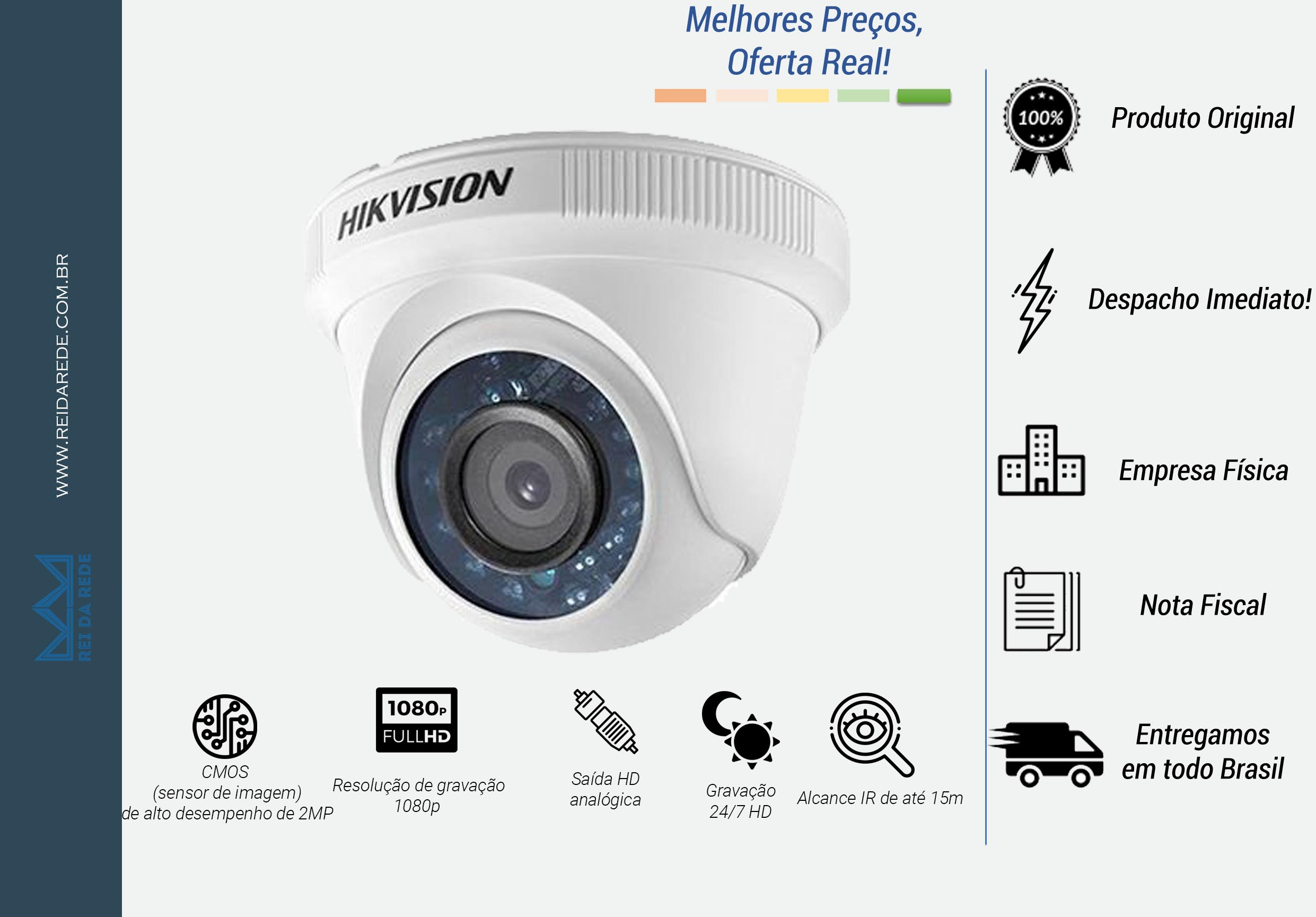 CAMERA DOME HD 2.0 MEGAPIXEL 1080P IR 10 MTS LENTE 2.8MM DS-2CE5AD0T-IRP - HIKVISION