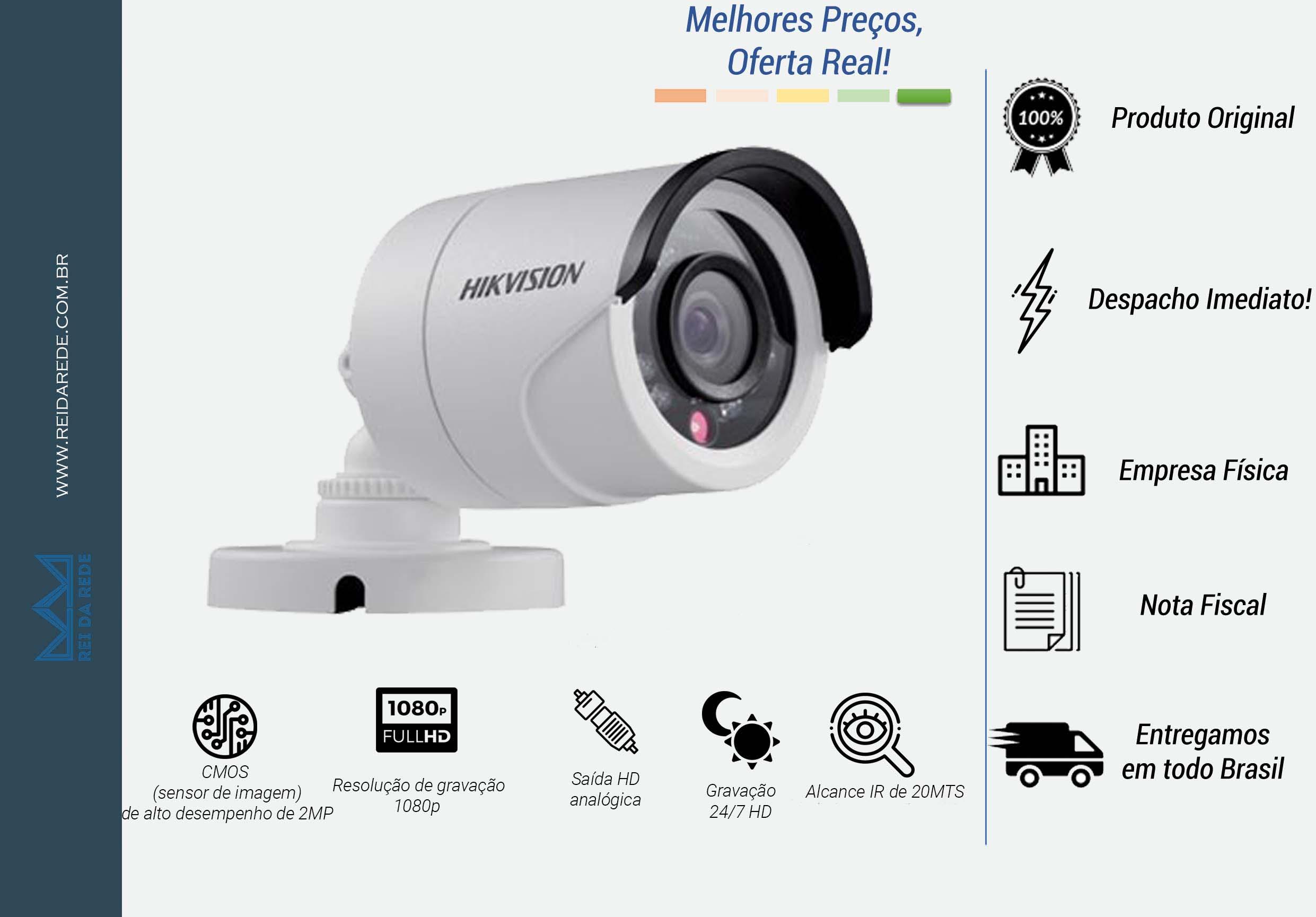 CAMERA BULLET 2.0 MEGAPIXEL 1080P IR 20MTS LENTE 2.8MM DS-2CE1AD0T-IRP - HIKVISION