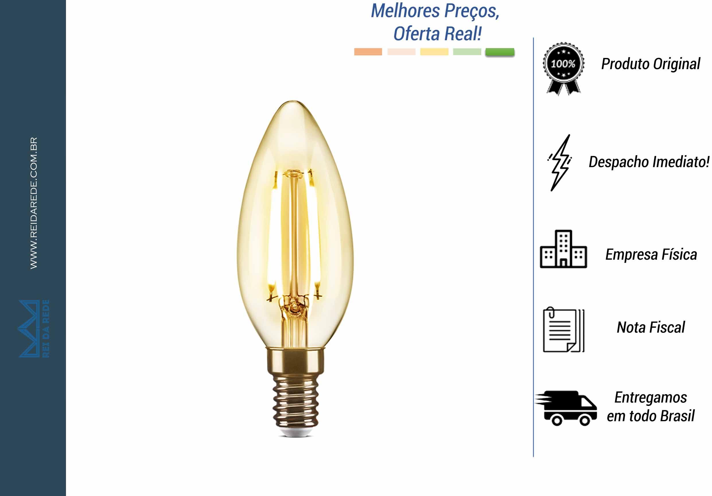 LÂMPADA LED DE FILAMENTO VELA CHAMA LUZ ÂMBAR 2W AVANT 127V (110V) 48LC35F02A10 ELGIN - MARCA: ELGIN - MODELO: 48LC35F02A10