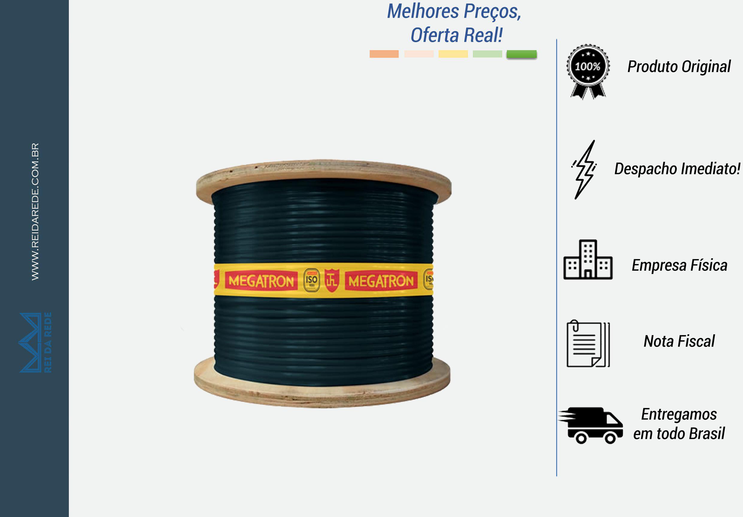 CABO DE REDE ESPECIAL DUPLA BLINDAGEM CAT5E LAN 4P BOBINA 500 METROS PRETO DVBL MEGATRON - MARCA: MEGATRON  - MODELO: DUPLA BLINDAGEM CAT5E LAN 4P