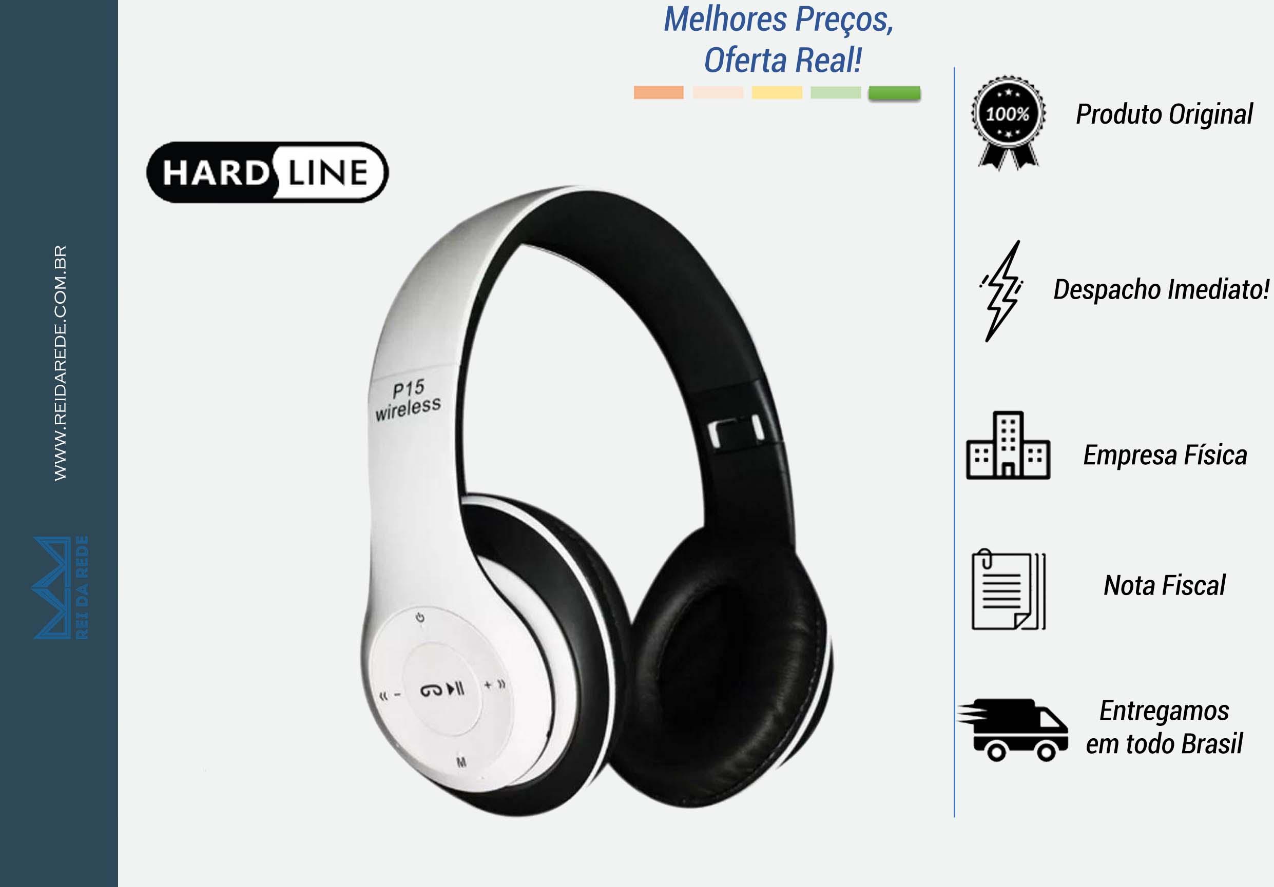 FONE DE OUVIDO BLUETOOTH SEM FIO RADIO FM ENTRADA SD FO-BT-P15 BRANCO PADRAO - HARDLINE
